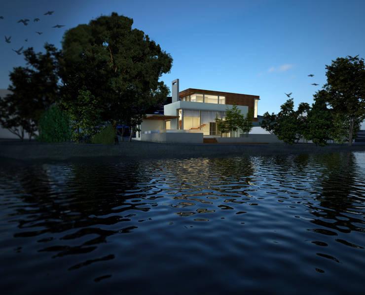Fachada Exterior - Vista sobre el lago: Casas de estilo  por Gliptica Design