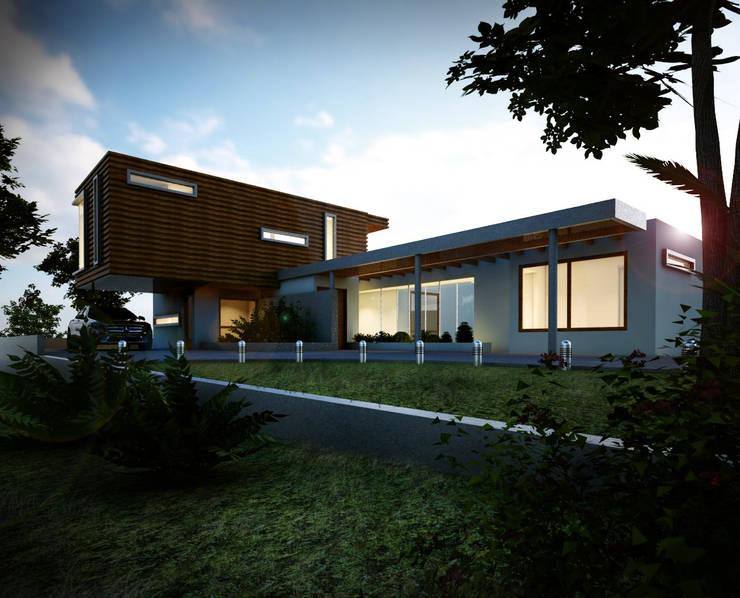 Fachada exterior - Vista desde jardín: Casas de estilo  por Gliptica Design