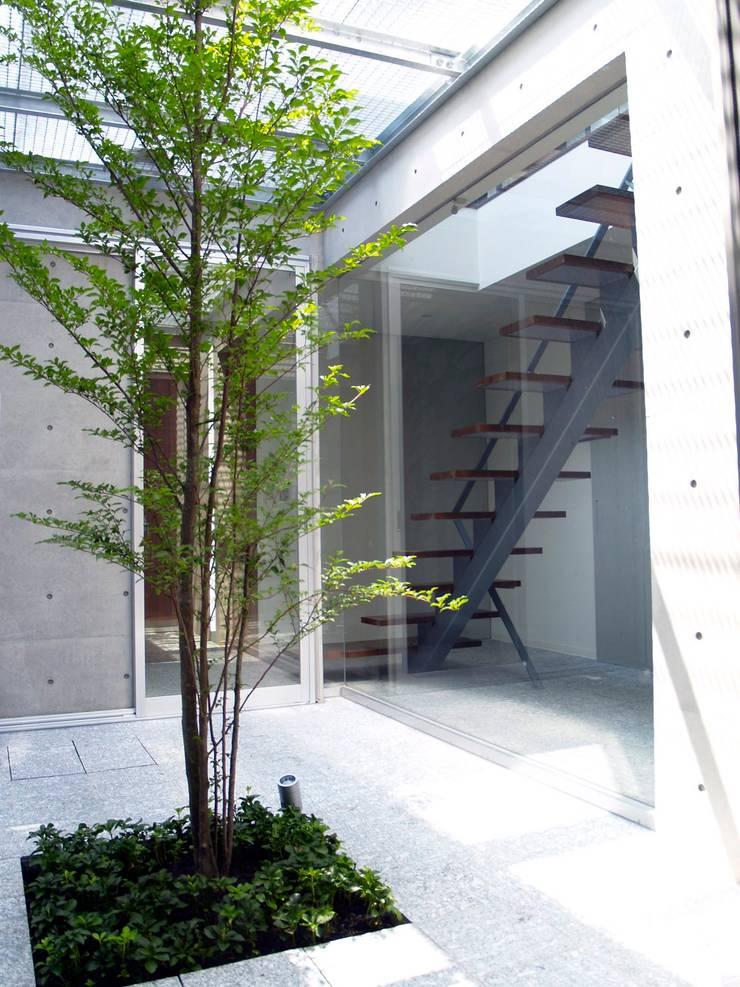 中庭から階段室を見る:       古津真一 翔設計工房一級建築士事務所が手掛けた玄関&廊下&階段です。