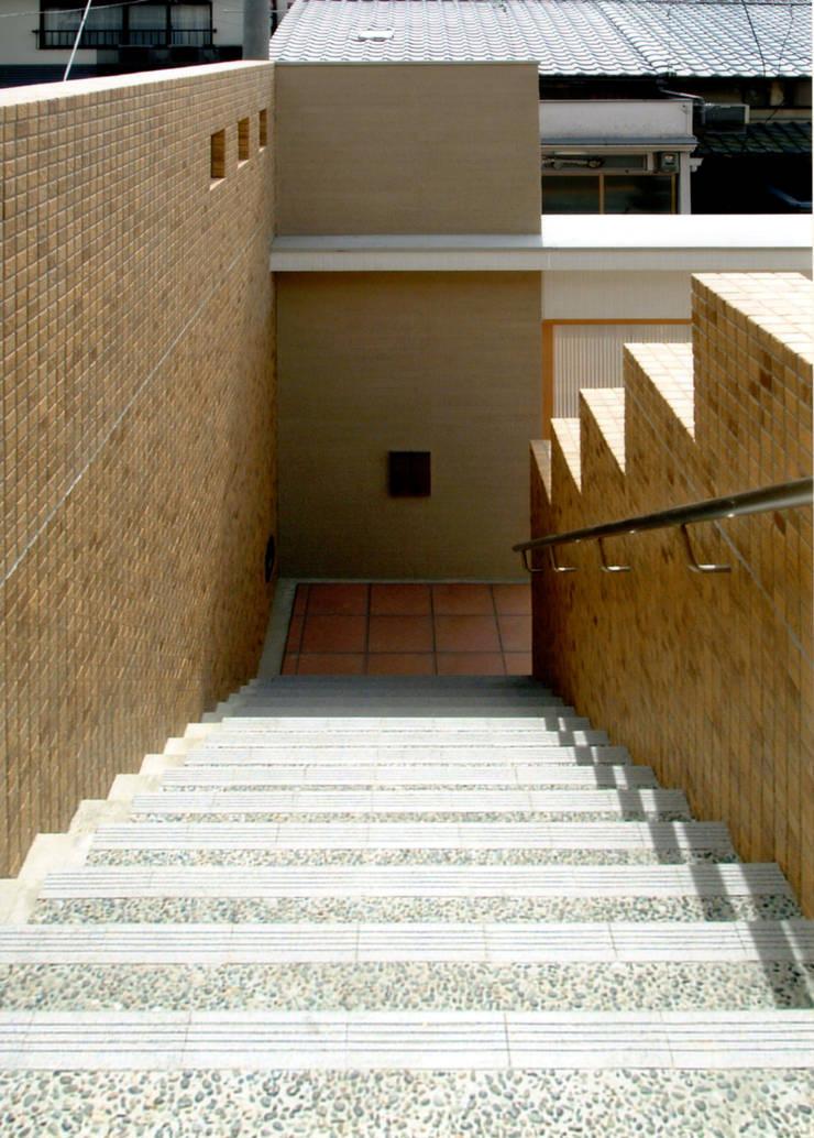 階段2: 株式会社 岡﨑建築設計室が手掛けた廊下 & 玄関です。,モダン
