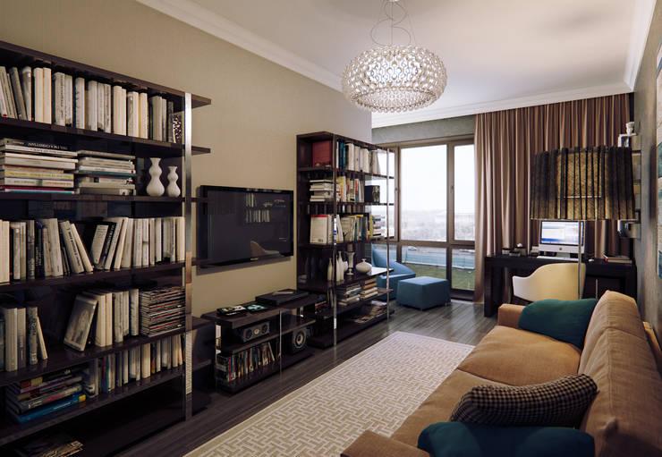 Квартира в ЖК Дом в Хамовниках: Медиа комнаты в . Автор – MARION STUDIO,