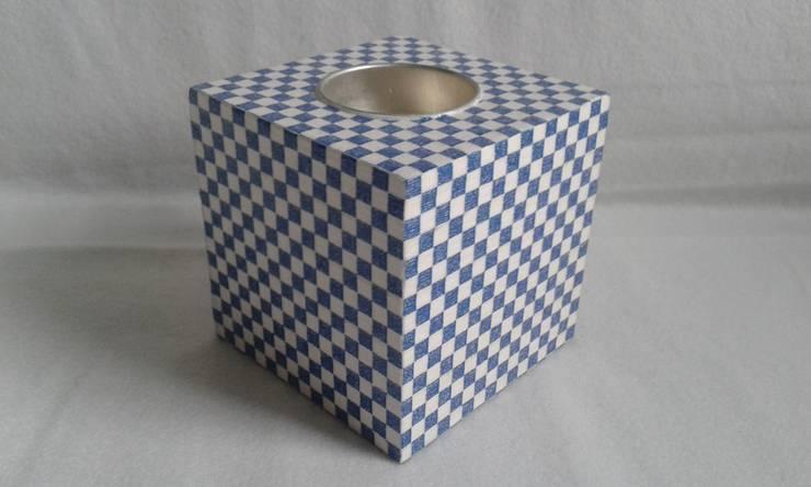 Teelichtwürfel Karos blau weiß:  Wohnzimmer von Susen´s Allerlei