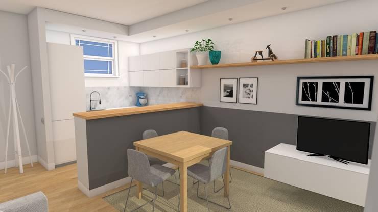 Soggiorno di stile con cucina a vista per un piccolo budget von Easy ...