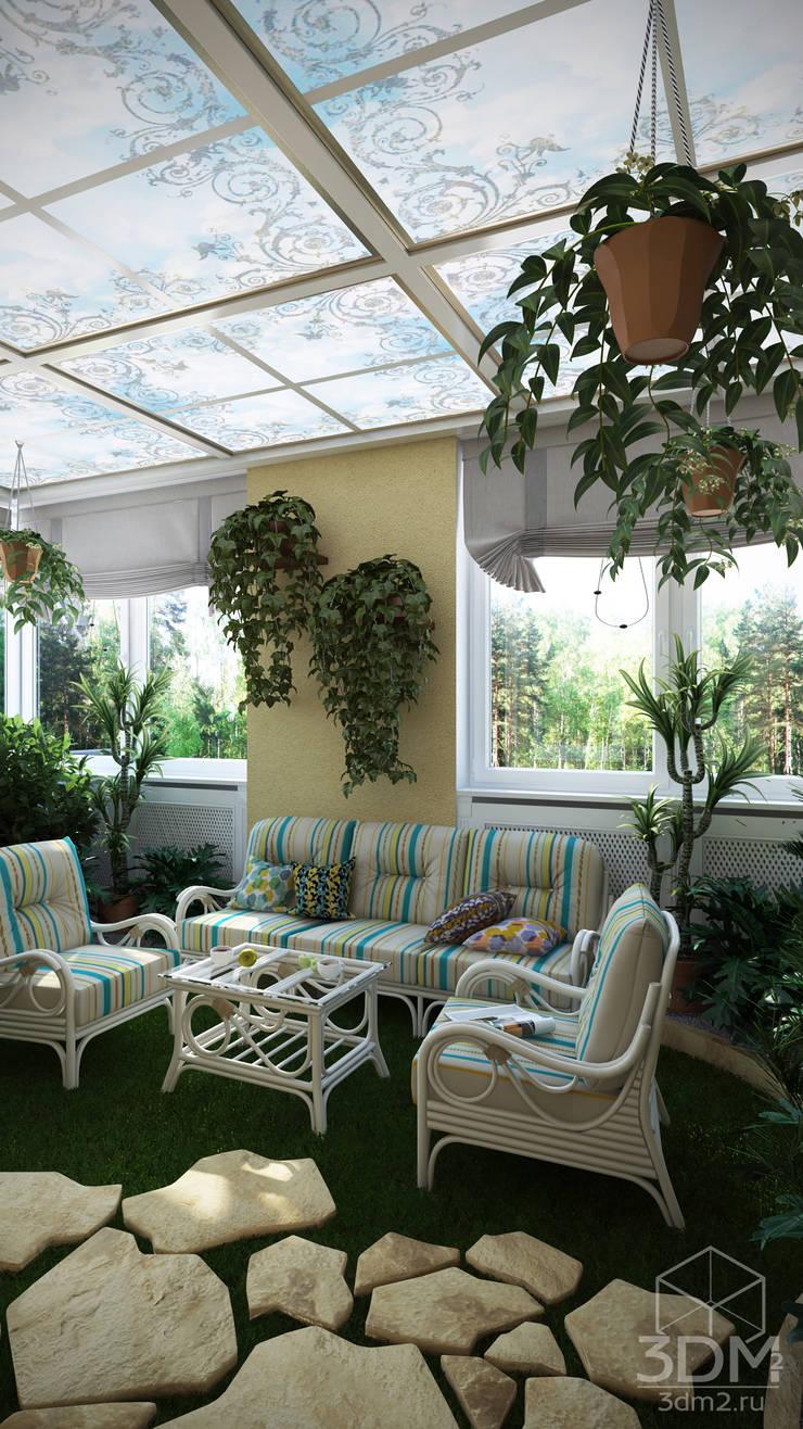 Проект 023: кухня + столовая + зимний сад: Зимние сады в . Автор – студия визуализации и дизайна интерьера '3dm2',