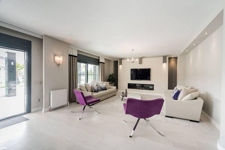 .NESS Reklam ve Fotoğrafçılık – Dusa İnşaat Sevilla House Mekan Fotoğraf Çekimi: modern tarz Oturma Odası