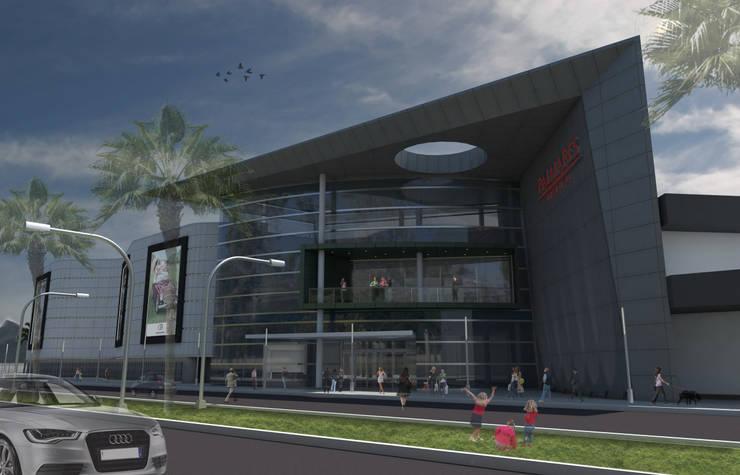 POM – Palmares Shopping Mall: Shoppings y centros comerciales de estilo  por Brunzini Arquitectos & Asociados