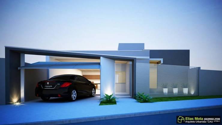 Fachada Minimalista Casas minimalistas por Arquiteto Elias Mota Minimalista Cerâmica