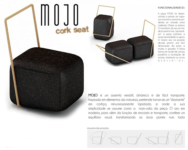 Mojo - Cork Seat: Sala de estar  por ad+r Creative Studio