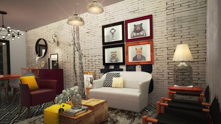 Casa EGR: Salas de estilo  por Rotoarquitectura