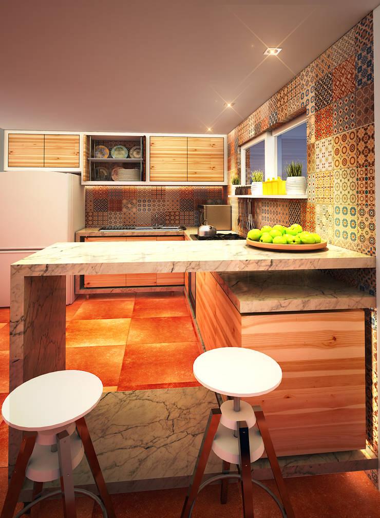 Cocina HR: Cocinas de estilo  por Rotoarquitectura