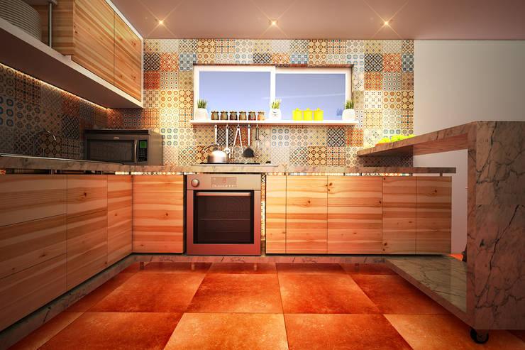 Cocina HR: Cocinas de estilo moderno por Rotoarquitectura