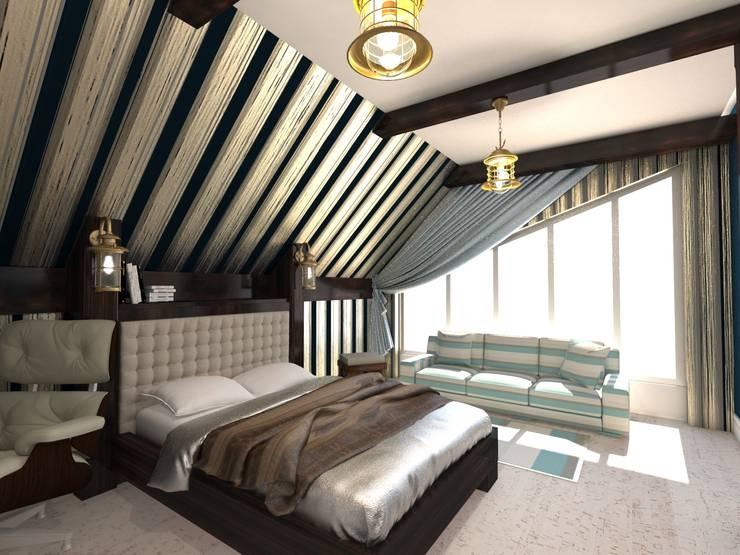 Комната 13-тилетнего подростка, в монсардном этаже.: Детские комнаты в . Автор – Студия Маликова