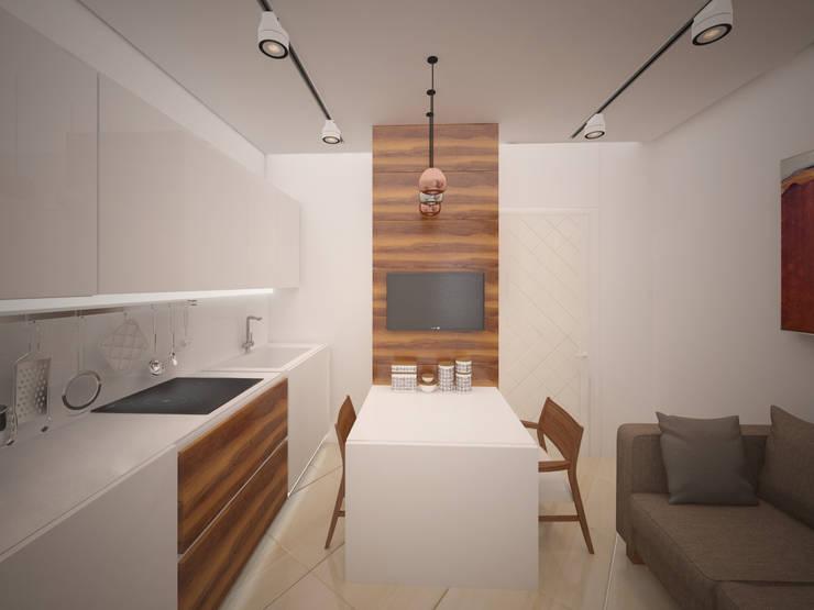 """квартира для холостяка в стиле """"Минимализм"""": Кухни в . Автор – NewHands"""