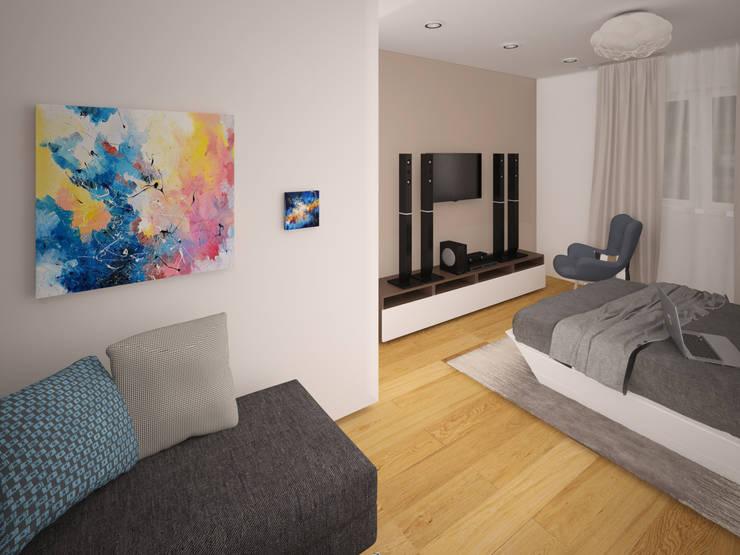 квартира для холостяка в стиле <q>Минимализм</q>: Спальни в . Автор – NewHands
