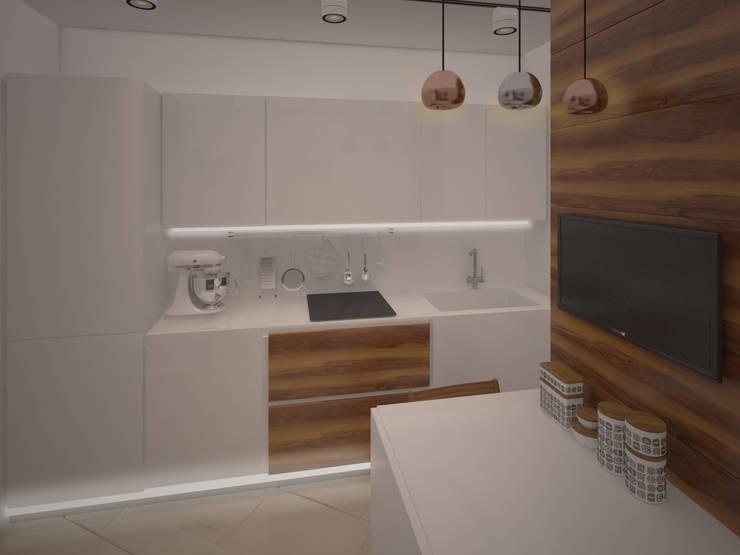 квартира для холостяка в стиле <q>Минимализм</q>: Кухни в . Автор – NewHands