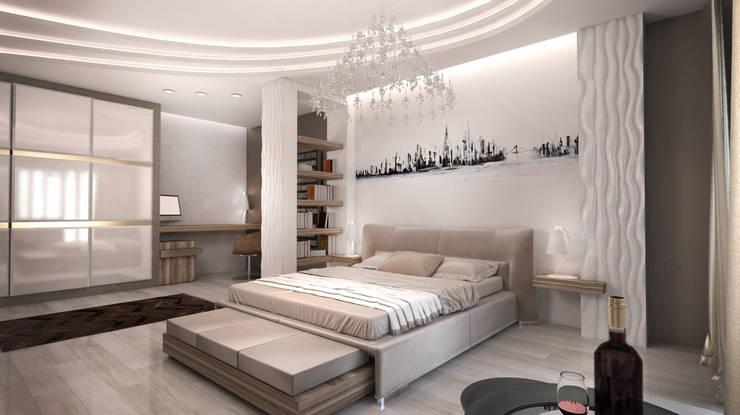 Многоэтажная эклектика: Спальни в . Автор – Студия Маликова