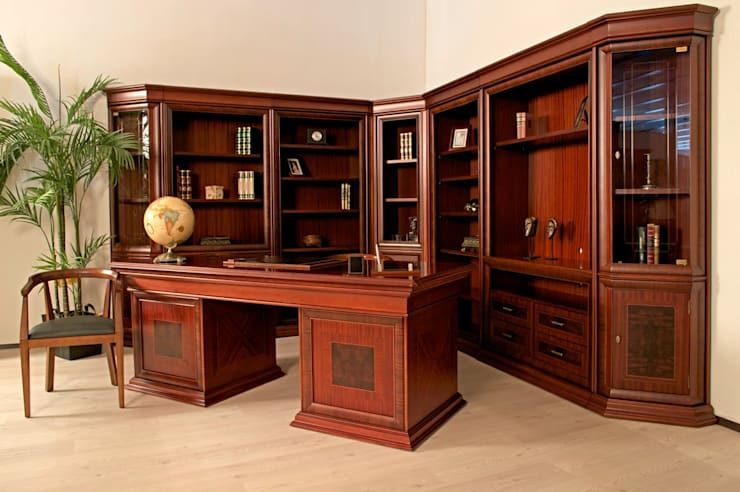 Libreros y escritorio Córdoba: Estudio de estilo  por Muebles Maple