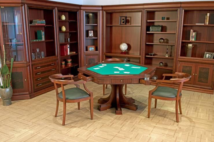 Juego de mesa Porto con libreros Córdoba: Estudio de estilo  por Muebles Maple