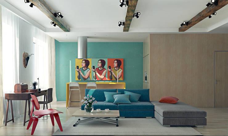 Красочный минимализм: Гостиная в . Автор – BIARTI - создаем минималистский дизайн интерьеров