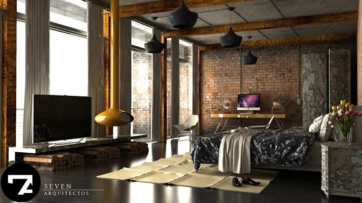 Dormitorios de estilo moderno por Seven Arquitectos