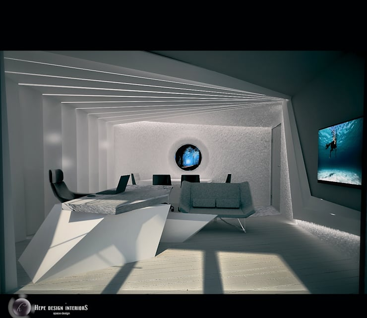 HePe Design interiors – Manager Office:  tarz Ofis Alanları, Modern Taş