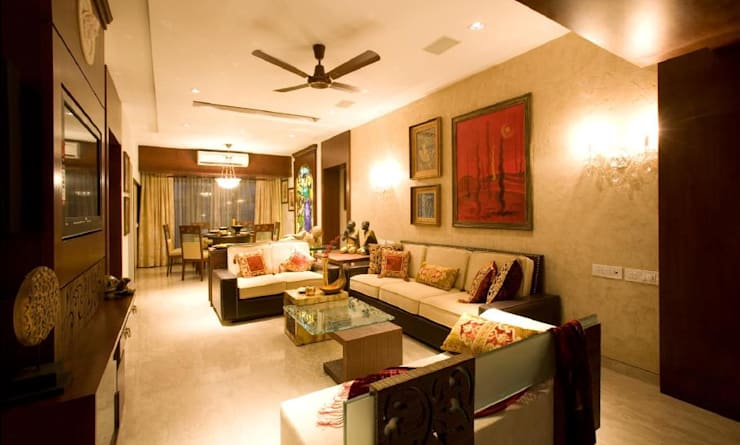 Apartment: modern Living room by archana_kejriwal