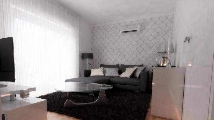 Casa L   Modelação e Renderização 3D: Sala de estar  por Rúben Ferreira   Arquitecto