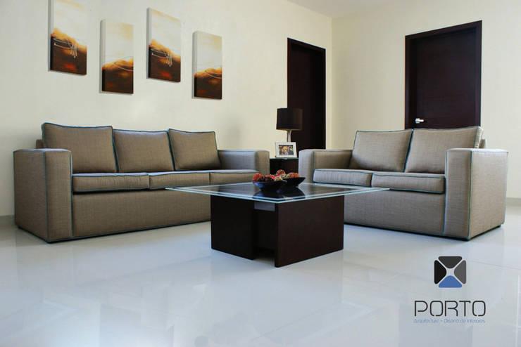 proyecto residencial <q>Montebello</q>: Salas de estilo  por PORTO Arquitectura + Diseño de Interiores