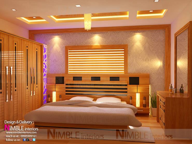 Modern Style Bedroom in Teak Wood:  Bedroom by Nimble Interiors