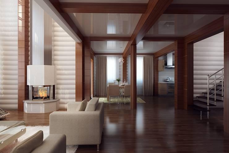 Wooden house at St. Petersburg.: Гостиная в . Автор – Design studio of Stanislav Orekhov. ARCHITECTURE / INTERIOR DESIGN / VISUALIZATION.