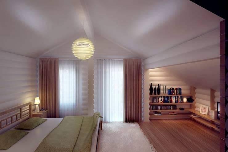 Wooden house at St. Petersburg.: Спальни в . Автор – Design studio of Stanislav Orekhov. ARCHITECTURE / INTERIOR DESIGN / VISUALIZATION.