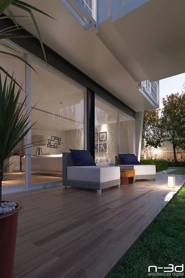 N-3d / arquitectura digital: Terrazas de estilo  por N-3D / ARQUITECTURA DIGITAL