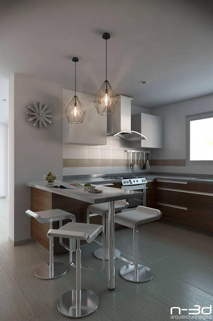 N-3d / arquitectura digital: Cocinas de estilo  por N-3D / ARQUITECTURA DIGITAL