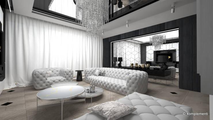 penthouse glamour: styl , w kategorii Salon zaprojektowany przez Komplementi,Nowoczesny