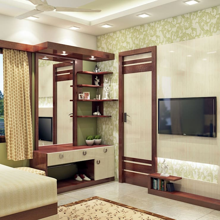 Master Bedroom Design ( DRESSING UNIT & TV UNIT VIEW) :   by Creazione Interiors