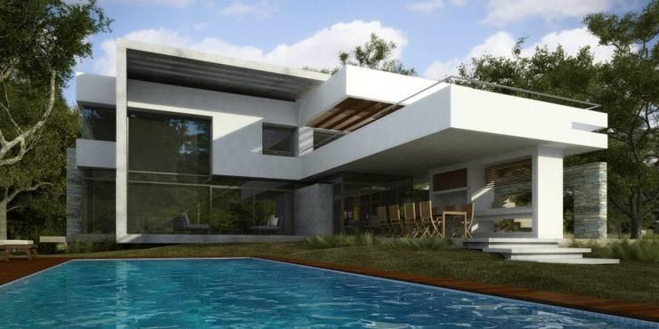 Vivienda en Grand Bell: Piletas de estilo moderno por AMADO arquitectos