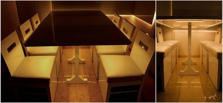 Lighted Dinning: minimalist  by Neha Goel Architects,Minimalist