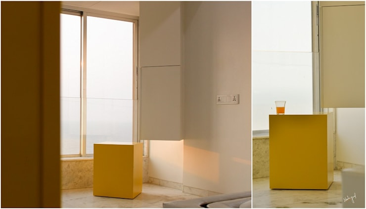 Suspended Multipurpose Column:  Bedroom by Neha Goel Architects