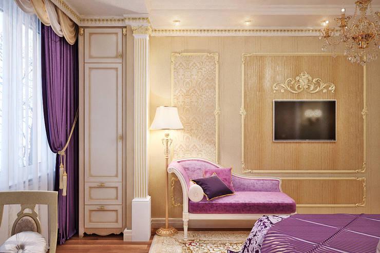 Фиолетовое настроение для спальни в классическом стиле: Спальни в . Автор – Студия дизайна Interior Design IDEAS,