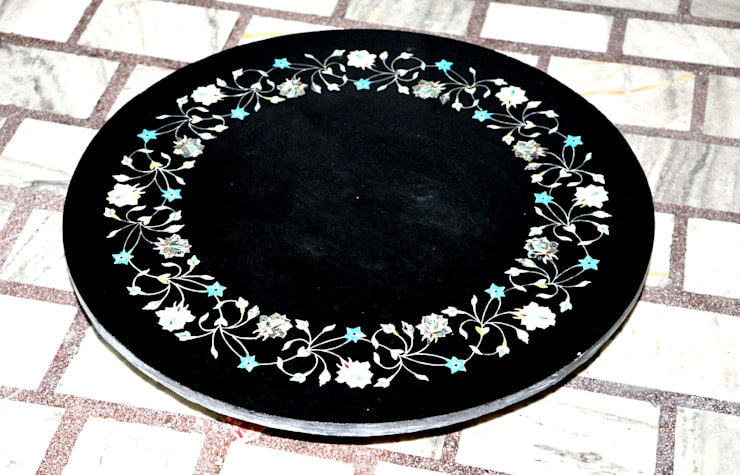 "28"" black marble semi precious stone inlay round table top: modern Dining room by india stone"