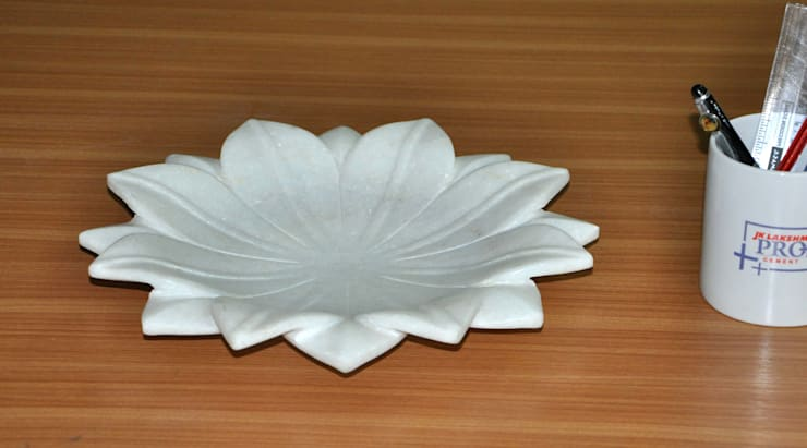"""12"""" White Marble Lotus Leaf  Coffee Table/Dinning Table Decorative Handmade Fruit Bowl:  Household by india stone"""