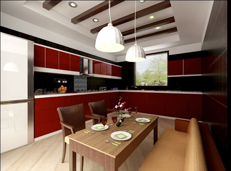 Kitchen and Dining Space:  Hotels by Space Interface