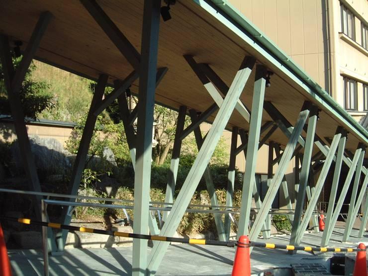 斜め柱の回廊: 木造トラス研究所・株式会社 合掌が手掛けた家です。,