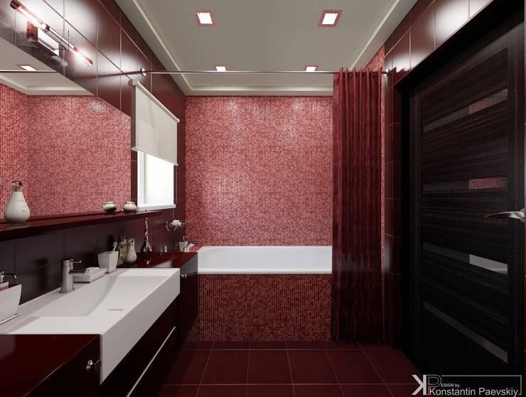 Интерьер 3-х комнатной квартиры: Ванные комнаты в . Автор – Константин Паевский-PAEVSKIYDESIGN, Минимализм