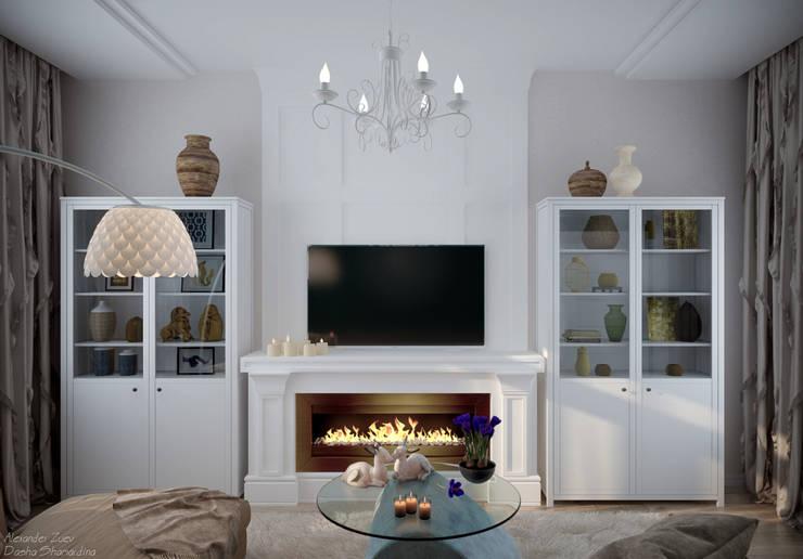 Дизайн гостиной в стиле неоклассика в г. Абинск: Гостиная в . Автор – Студия интерьерного дизайна happy.design