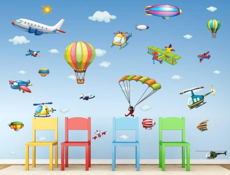Flugzeuge: moderne Kinderzimmer von I-love-Wandtattoo.de