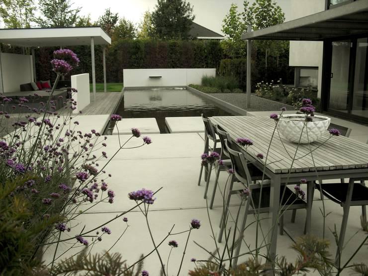 Grote vijver met betonplaten:  Tuin door Stoop Tuinen, Modern