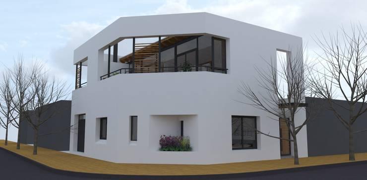 Fachada desde a esquina: Casas de estilo moderno por UFV 72 Arquitectura Integral