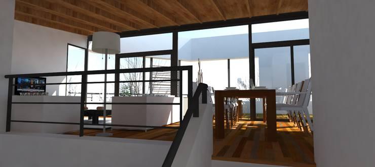 Llegada a la sala de estar desde el hall de acceso: Livings de estilo  por UFV 72 Arquitectura Integral,