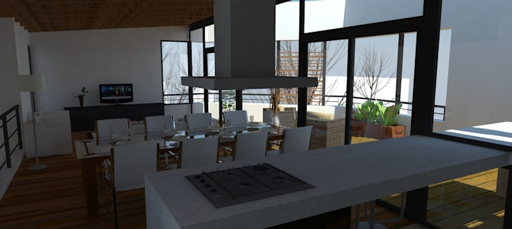 Cocina en isla: Jardines de estilo moderno por UFV 72 Arquitectura Integral